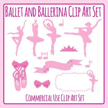 Pink Ballet or Ballerina / Ballet Dancer Clip Art Set for Commercial Use
