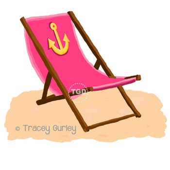 Pink Beach Chair with Anchor - with and without Sand Printable Tracey Gurley