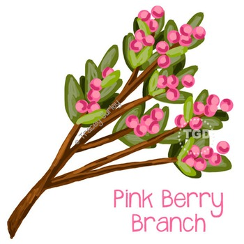 Pink Berry Branch - pink berry art Printable Tracey Gurley Designs