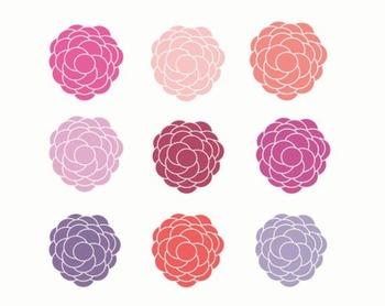 Pink Berry Flower, Flower Clipart Set #176
