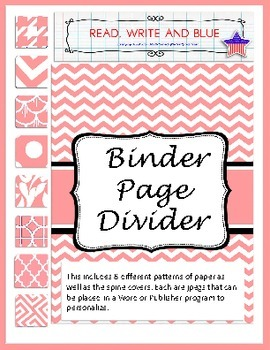 Pink Binder Covers and Dividers