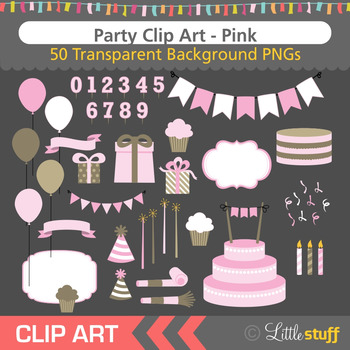Pink Birthday Party Clip Art (Set of 50)