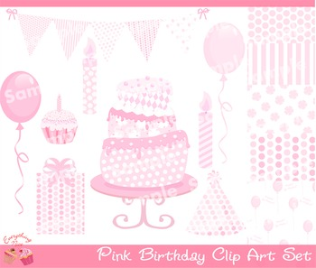 Pink Birthday for Girls Clipart Set