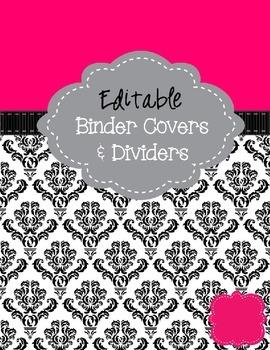 Pink & Black Binder Cover Pages - Editable