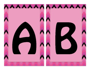 Pink & Black Chevron Word Wall Headers Alphabet