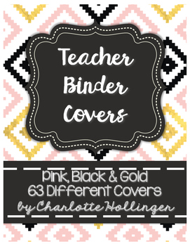 Pink, Black & Gold Teacher Binder Covers - 63 Different Covers