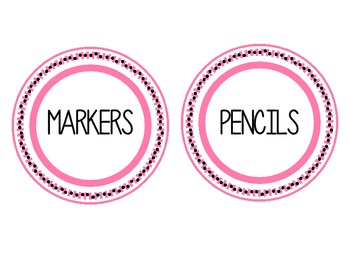 Pink & Black Supply Labels {to be used in storage baskets