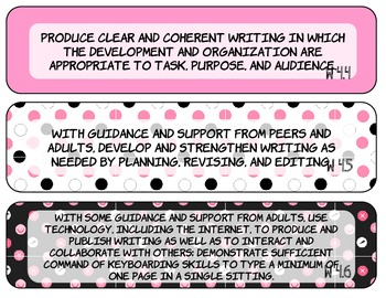 Pink, Black and White 4th Grade Common Core ELA Standards