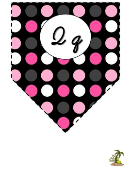 Pink, Black, and White Cursive Alphabet Pennant Banner