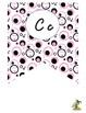 Pink, Black, and White Cursive Alphabet Pennant Banner