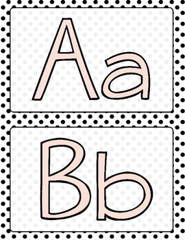 Pink, Black and White Polka Dot Word Wall Letters or Alphabet
