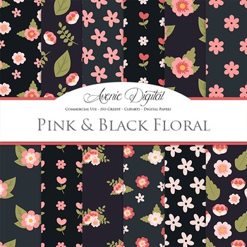 Pink & Black flowers Digital Paper floral printable pattern scrapbook background