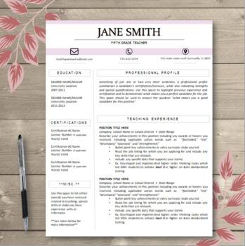 CUSTOMIZABLE Block Title Teacher Resume