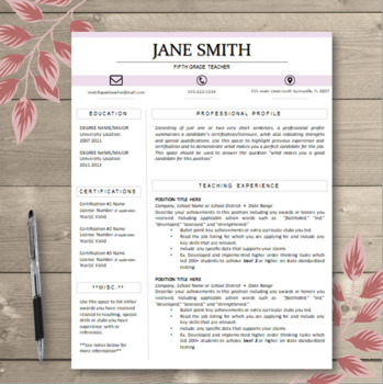 CUSTOMIZABLE Pink Block Title Teacher Resume
