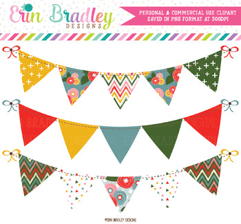 Pink Bloom Bunting Clipart Banners