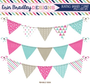 Pink & Blue Bunting Clipart