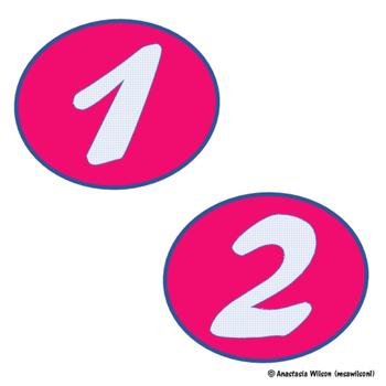 Pink & Blue Circular Number Labels