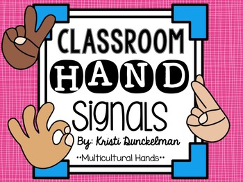 Pink & Blue Classroom Hand Signals--Multicultural Hands
