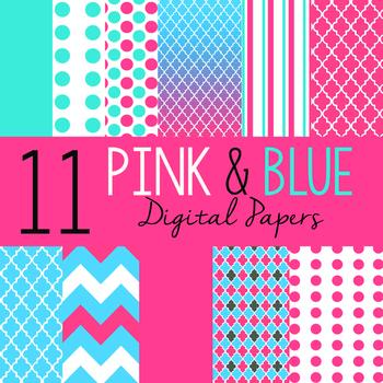 Pink & Blue Digital Paper Pack