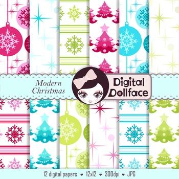 Pink, Blue & Green Christmas Backrounds / digital paper