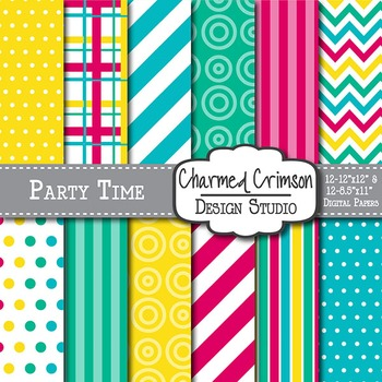 Pink, Blue, Green, and Yellow Digital Paper 1059