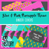 Blue & Pink Tropical Pineapple Theme Editable Binder Covers