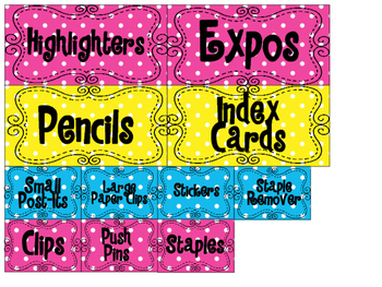 Pink, Blue, & Yellow Dot Toolbox Labels