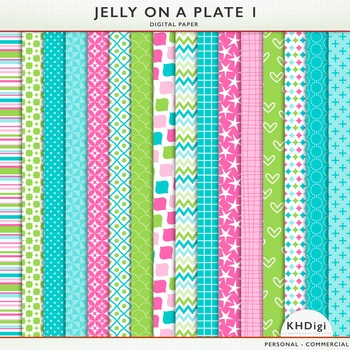 Pink Blue and Green Digital Papers- Jelly On A Plate 1