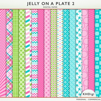 Pink Blue and Green Digital Papers- Jelly On A Plate 2