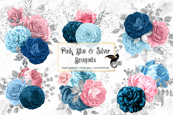 Pink Blue and Silver Bouquets Clipart