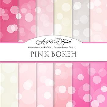 Pink Bokeh Digital Paper dots sparkle overly light circles scrapbook backgrounds
