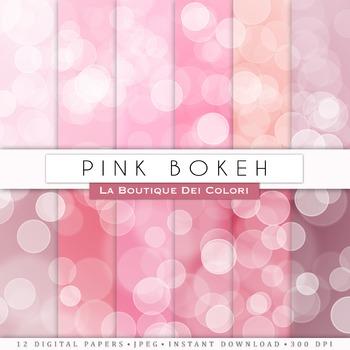 Pink Bokeh Digital Paper, scrapbook backgrounds