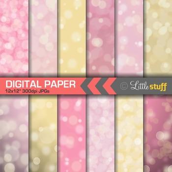 Pink Bokeh Paper Digital Papers, Dreamy Pink & Gold Digital Backgrounds