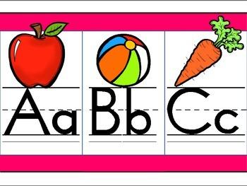 Pink Border Alphabet Line
