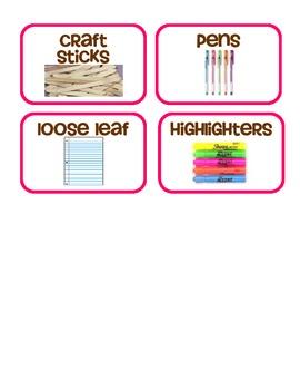 Pink Border Supply Labels