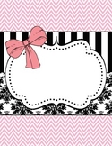 Pink Bow & Damask Binder Label