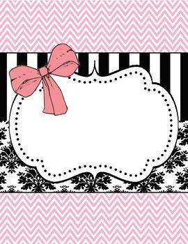 Pink Bow & Damask Binder Label