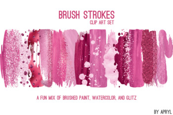 Pink Brush Strokes Paint Glitter Foil Watercolor 20 PNG Clip Art 12in CU S10