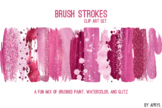 Pink Brush Strokes Paint Glitter Foil Watercolor 20 PNG Cl