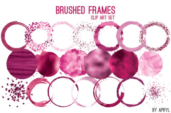 Pink Brushed Round Frames Paint Glitter Watercolor 20 PNG Clip Art 8in S10