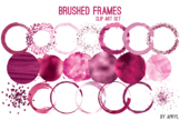 Pink Brushed Round Frames Paint Glitter Watercolor 20 PNG