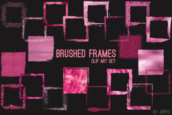 Pink Brushed Square Frames Paint Glitter Watercolor 20 PNG Clip Art 8in S10