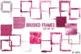 Pink Brushed Square Frames Paint Glitter Watercolor 20 PNG