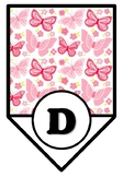 Pink Butterflies, Spring Insects Bulletin Board Pennant Letters, Classroom Décor