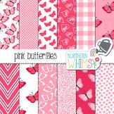 Pink Butterfly Digital Paper