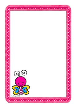 Pink Butterfly Worksheets