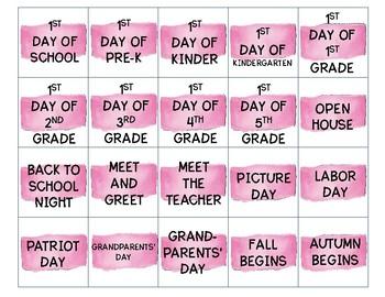 Pink Calendar Card Set