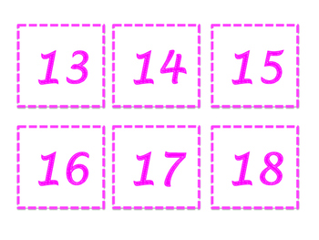 Pink Calendar Numbers and Months