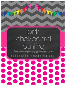 Pink Chalkboard Bunting Display Set