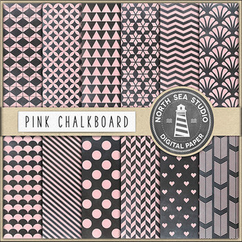 Pink Chalkboard Digital Paper Pack